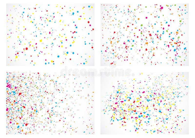 Set abstrakcjonistyczna koloru pluśnięcia ilustracja na białym tle fotografia stock