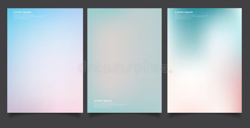 Set abstrakcjonistyczna miękka część zamazywał gradientu tła graficznego projekta szablon dla broszurki, sztandar, tapeta, wisząc ilustracji