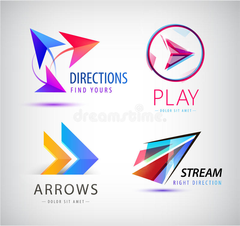 Set Abstrakcjonistyczne biznesowe logo ikony projekta szablonu strzała, origami dynamiczni znaki ilustracja wektor