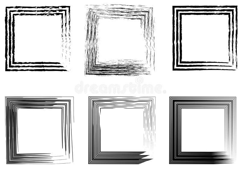 Set abstrakcjonistyczne fotografii ramy, rocznik ramy ręka rysująca szczotkuje royalty ilustracja