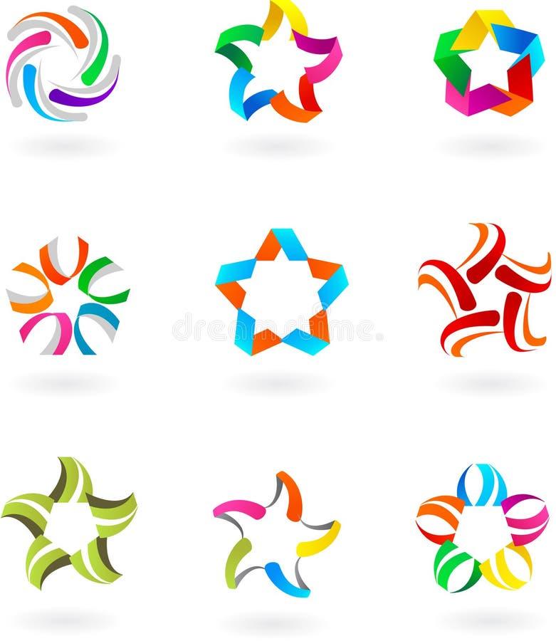 Set abstrakcjonistyczne ikony i logowie -3 - projekt royalty ilustracja