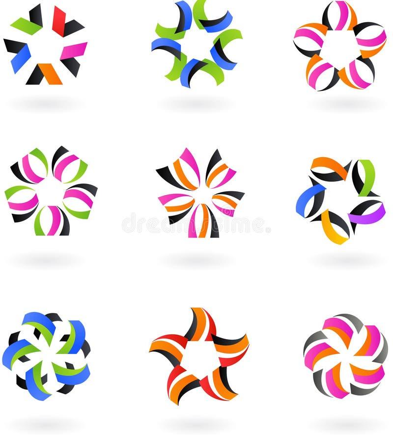 Set abstrakcjonistyczne ikony i logowie -4 - projekt ilustracja wektor
