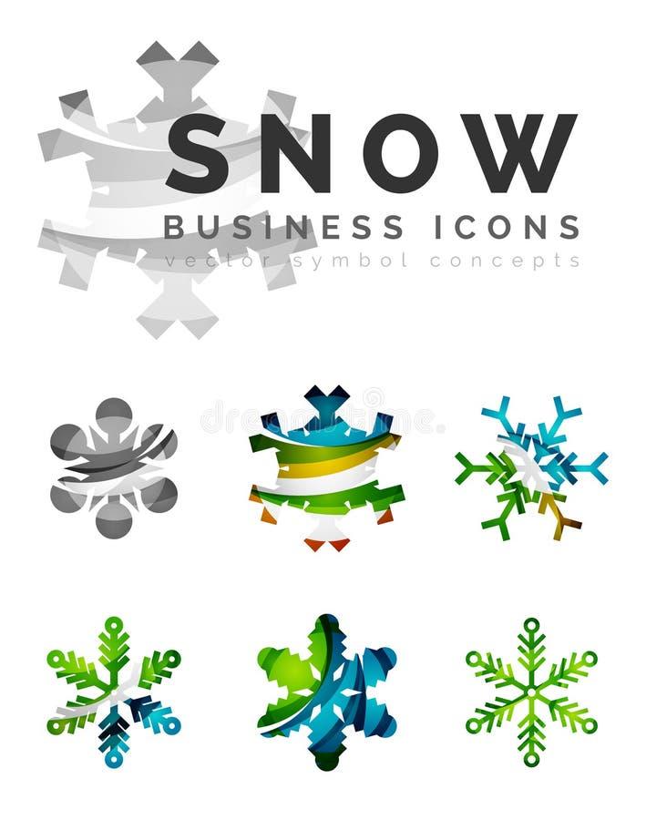 Set abstrakcjonistyczne kolorowe płatka śniegu loga ikony ilustracji