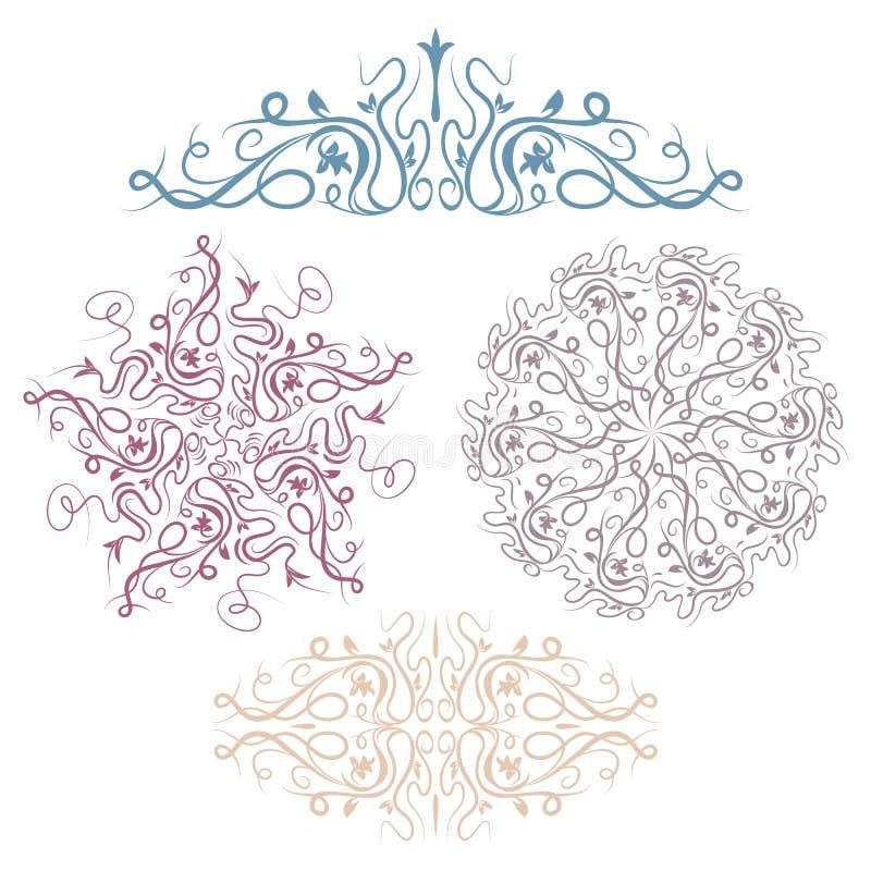 Set abstrakcjonistyczne kwieciste winiety na białym tle, royalty ilustracja