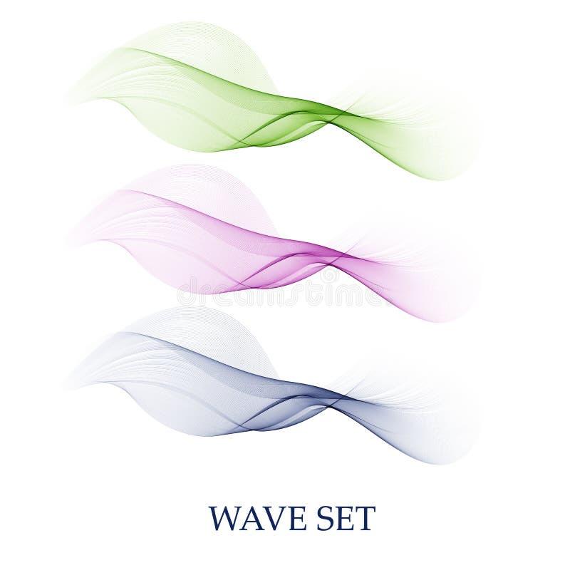Set abstrakcjonistycznego kolor fali dymu przejrzysty błękit, zielona falista projekt purpura ilustracja wektor