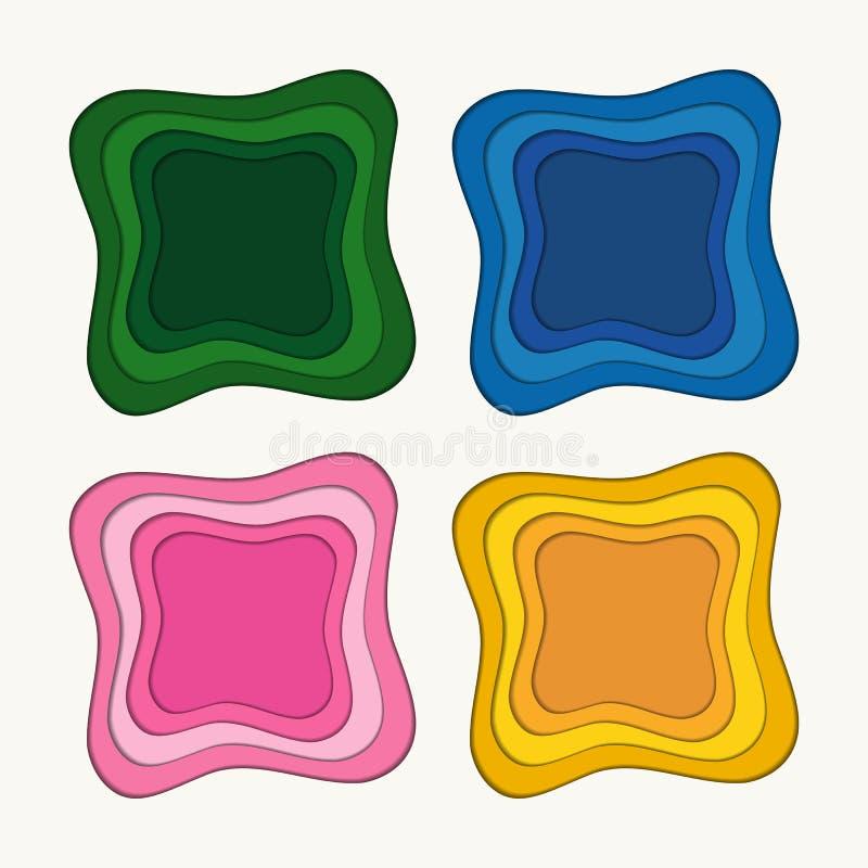 Set abstrakcjonistycznego multicolor papieru rżnięci tła dla reklamować, sztandary, plakaty, karty, ulotki, pokrywy, prezentacje  ilustracja wektor