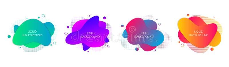 Set 4 abstrakcjonistycznego nowo?ytnego graficznego ciek?ego elementu Dynamical fal kolorów fluidu żywe formy Odosobneni sztandar ilustracja wektor