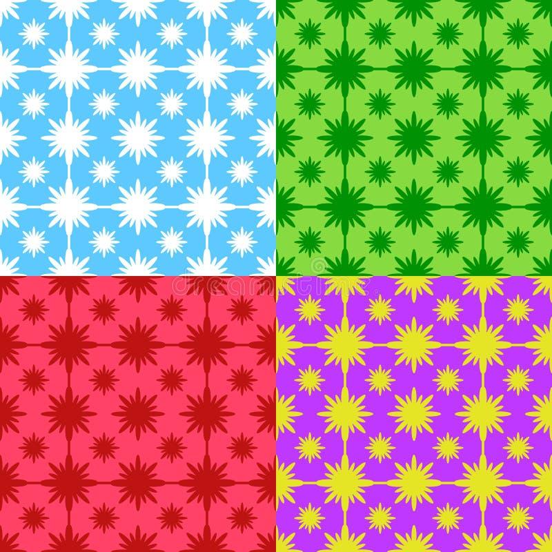 Set abstrakcjonistyczni bezszwowi wzory błękit, zieleń, czerwień, purpura na stubarwnym tle ilustracji