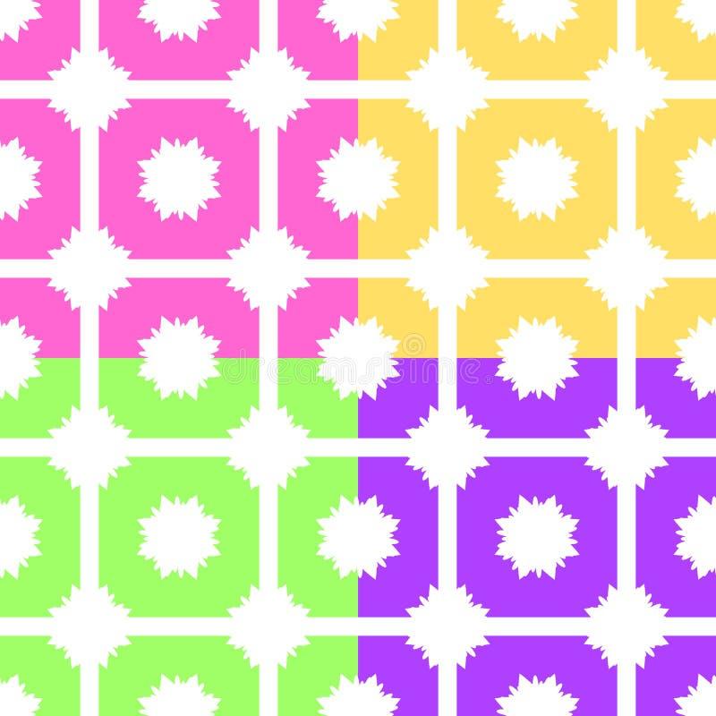 Set abstrakcjonistyczni bezszwowi wzory menchie, kolor żółty, zieleń, purpura na białym tle royalty ilustracja