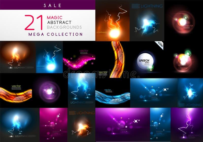 Set abstrakcjonistyczni ciemni magiczni tła ilustracji