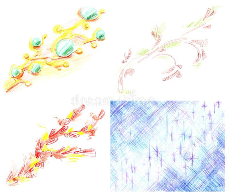 Set abstrakcjonistyczni diagonalni niedbali stubarwni wzory na białym tle, pociągany ręcznie z barwionymi ołówkami odizolowywając ilustracji