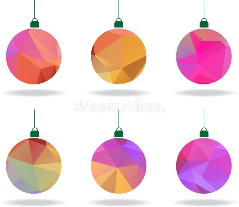 Set abstrakcjonistyczni geometryczni boże narodzenia balowi w wieloskładnikowych kolorach royalty ilustracja