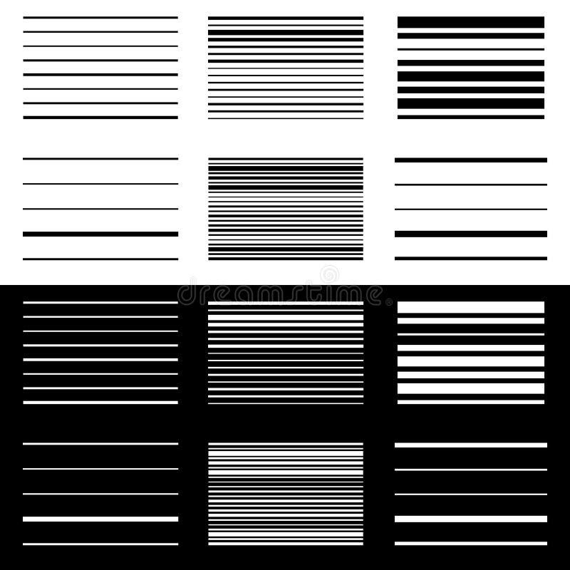 Set abstrakcjonistyczni geometryczni elementy z liniami w czarny i biały ilustracja wektor