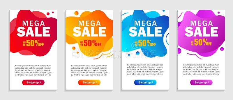 Set abstrakcjonistyczni kolorowi ciekli kształty mega sprzedaż dla mobilnego tła Megiej sprzedaży abstrakcjonistyczny sztandar z  ilustracji