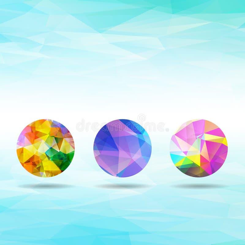 Set abstrakcjonistyczni kolorowi geometryczni bańczaści kształty od triangu ilustracja wektor