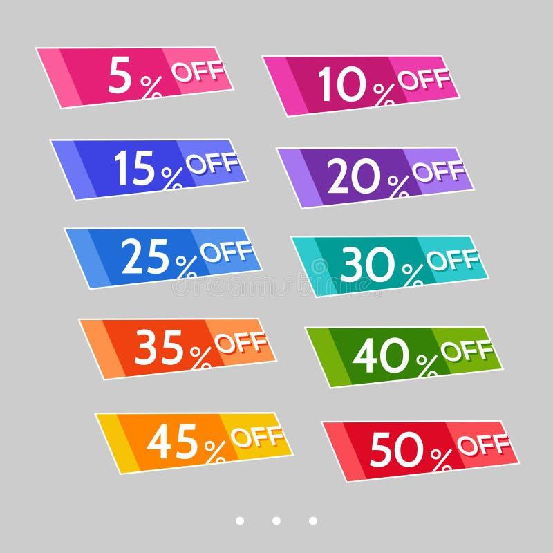 Set abstrakcjonistyczni kolorowi sprzedaż majchery ilustracja wektor
