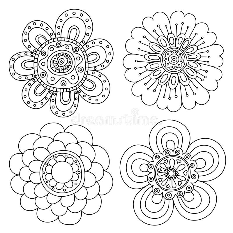 Set abstrakcjonistyczni kwieciści elementy Ręka rysujący doodle royalty ilustracja