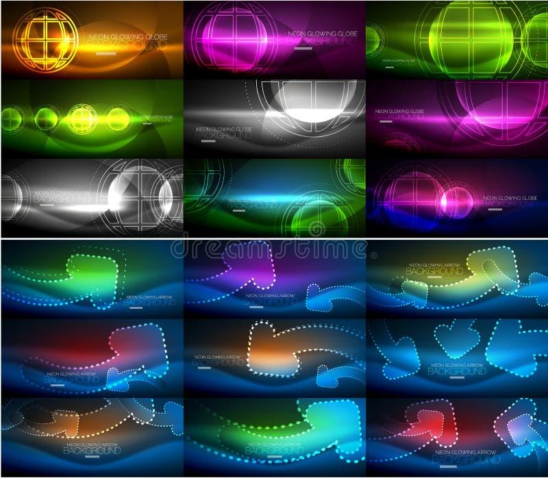 Set abstrakcjonistyczni neonowi rozjarzeni magiczni tła, ciemni błyszczący wektorowi tła z lekkimi skutkami dla sieć sztandaru royalty ilustracja