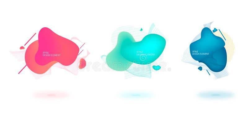 Set abstrakcjonistyczni nowożytni graficzni elementy Dynamical barwiona linia i formy Gradientowi abstrakcjonistyczni sztandary z ilustracja wektor