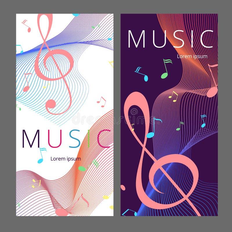 Set abstrakcjonistyczni sztandary z barwionym muzyka kluczem, notatkami i Sztandaru szablon dla muzyczny partyjny i świątecznego ilustracja wektor