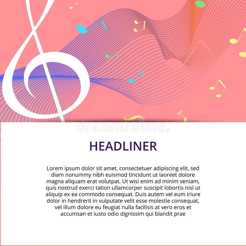 Set abstrakcjonistyczni sztandary z barwionym muzyka kluczem, notatkami i Sztandaru szablon dla muzyczny partyjny i świątecznego ilustracji