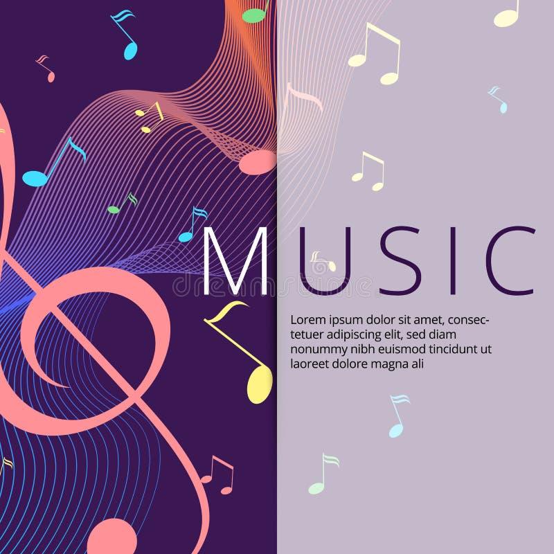 Set abstrakcjonistyczni sztandary z barwionym muzyka kluczem, notatkami i Sztandaru szablon dla muzyczny partyjny i świątecznego royalty ilustracja