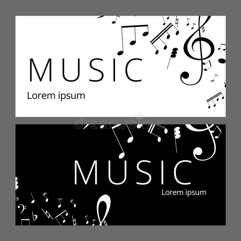 Set abstrakcjonistyczni sztandary z czarny i biały muzyka kluczem, notatkami i Sztandaru szablon dla muzyczny partyjny i świątecz royalty ilustracja