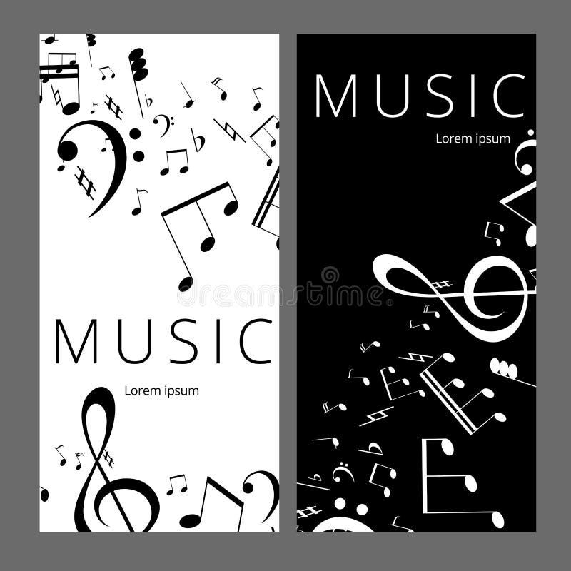 Set abstrakcjonistyczni sztandary z czarny i biały muzyka kluczem, notatkami i Sztandaru szablon dla muzyczny partyjny i świątecz ilustracja wektor