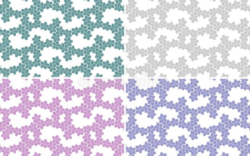 Set abstrakcjonistyczni tła, bezszwowa tekstura Różni colours: menchie, fiołek, jasnozielony, zieleń ilustracji