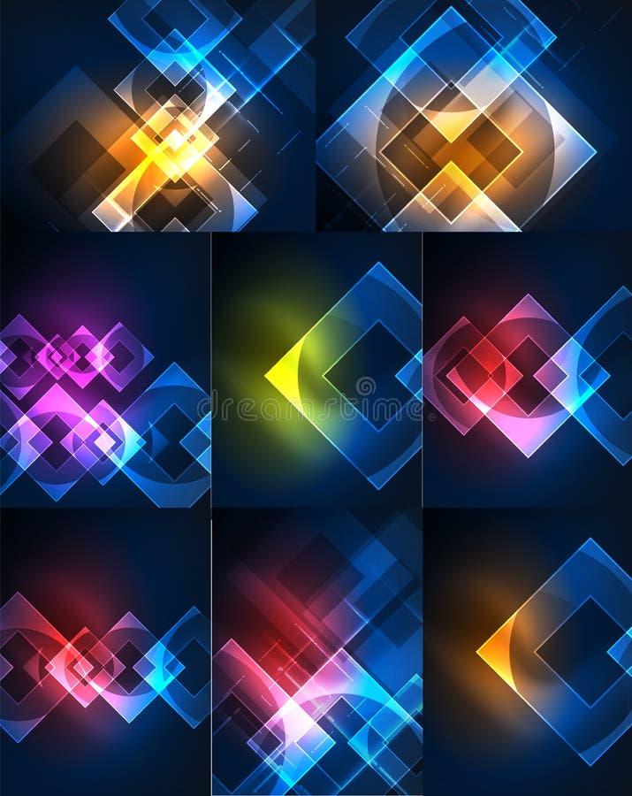 Set abstrakcjonistyczni tła - rozjarzonego neonowego koloru lekcy skutki ilustracji