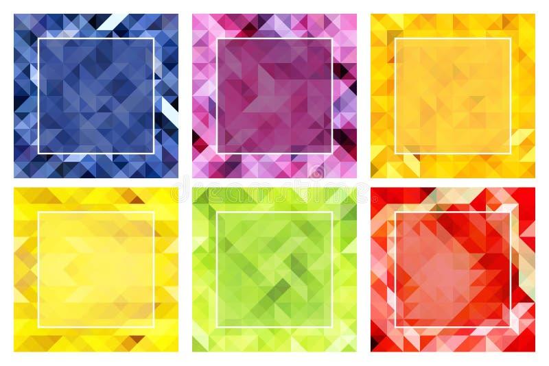 Set abstrakcjonistyczni tła w tropikalnych kolorach ilustracja wektor