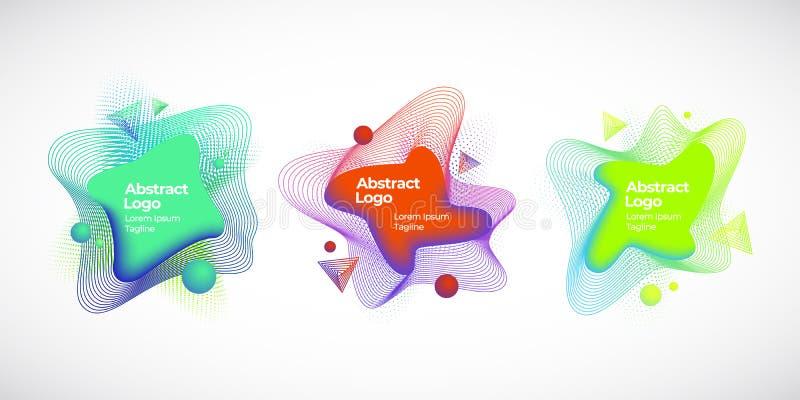 Set Abstrakcjonistyczni Wektorowi Geometryczni Ciekli sztandary, emblematy lub logo, Kreatywnie dekoracja szablony dla tło lub ilustracji