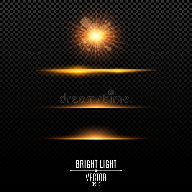 Set Abstrakcjonistyczny świecenie i błyski odizolowywający na przejrzystym tle Złota jaskrawa radiant gwiazda Złoty backlight Pom royalty ilustracja