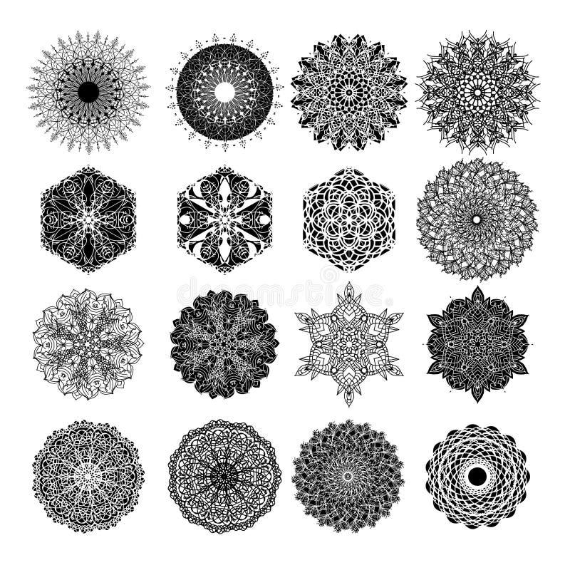 Set abstrakcjonistyczny projekta element Round mandalas w wektorze Graficzny szablon dla twój Dekoracyjny retro ornament ilustracja wektor