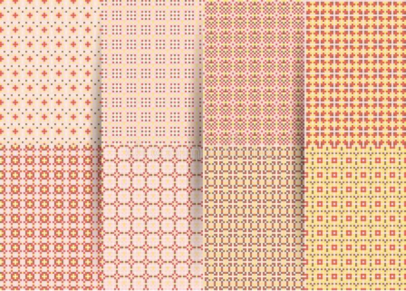 Set 6 abstrakcjonistycznych bezszwowych w kratk? geometrycznych wzor?w Wektoru r??owy geometryczny ackground dla tkanin, druki, d ilustracji