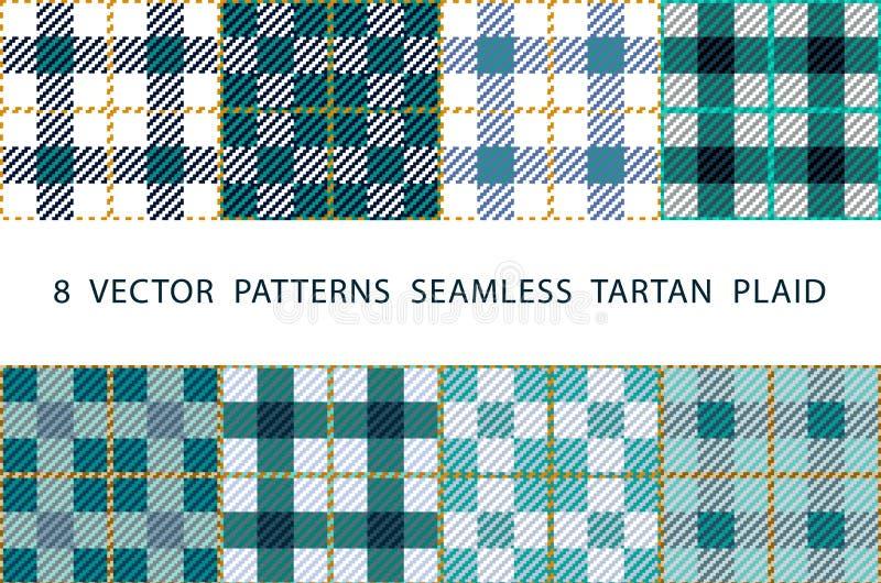 Set 8 abstrakcjonistycznych eleganckich geometrical bezszwowych wzorów z celta ornamentem mennica , błękit, czerń i biel cieni we royalty ilustracja