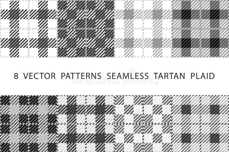 Set 8 abstrakcjonistycznych eleganckich geometrical bezszwowych wzorów z celta ornamentem popielaty i biel cieni WEKTOROWĄ tartan ilustracji