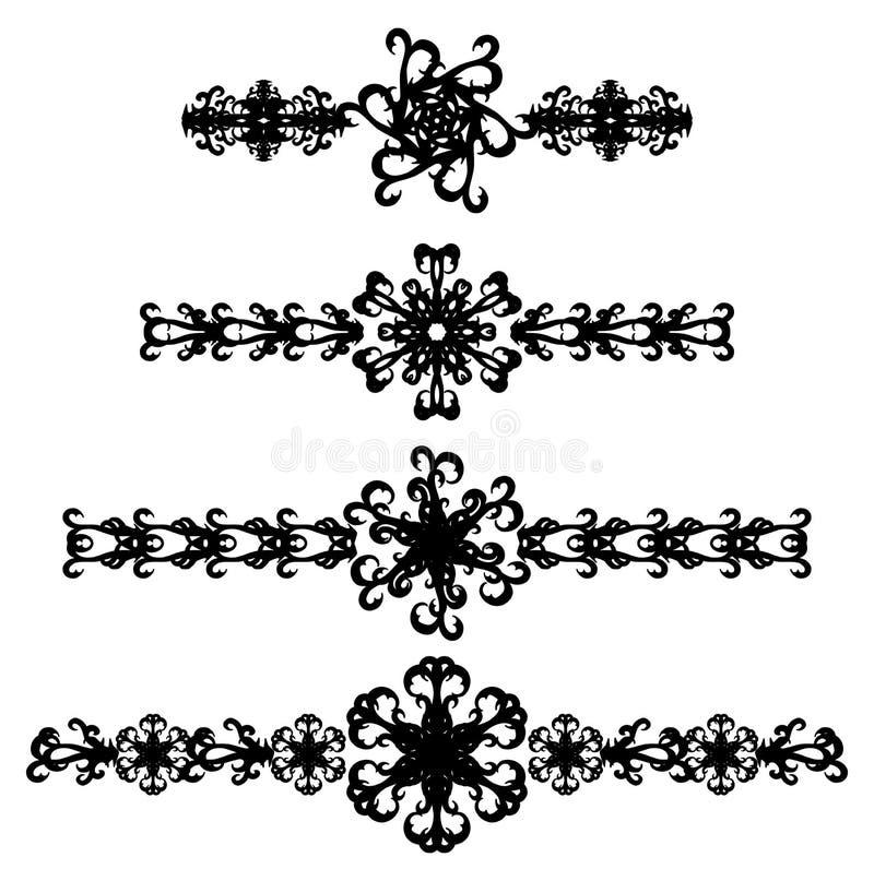 Set abstraktów tatuaże z kwiatem odizolowywającym ilustracji