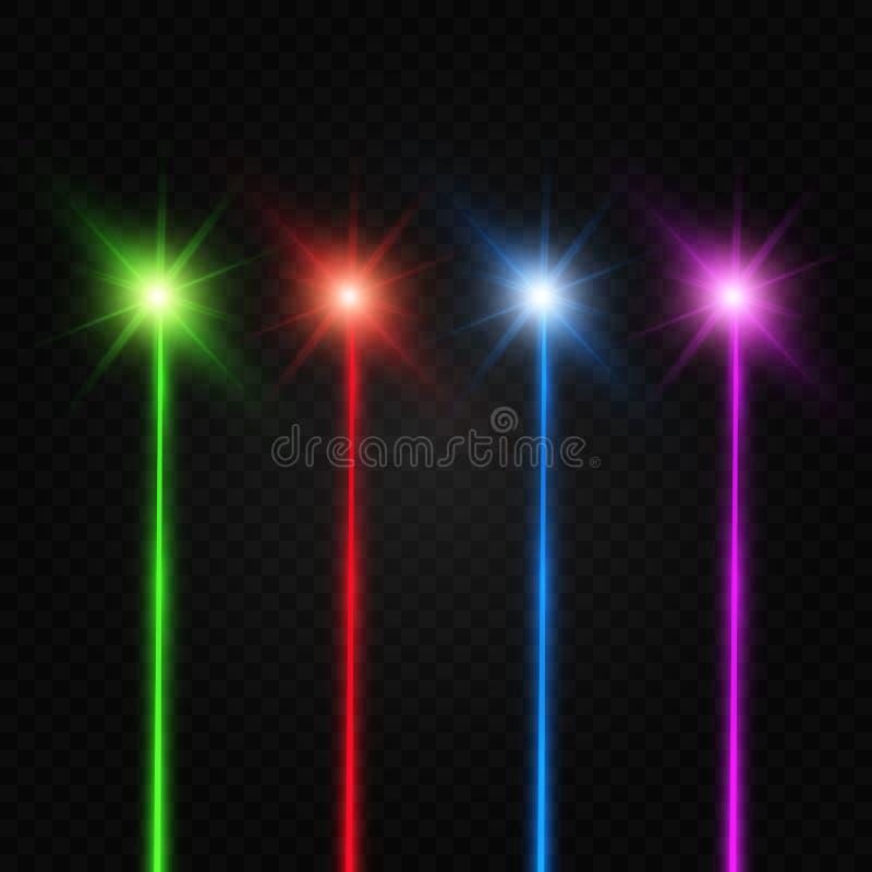 Set abstrakt barwi wi?zk? laserow? Przejrzysty odizolowywa na czarnym tle royalty ilustracja