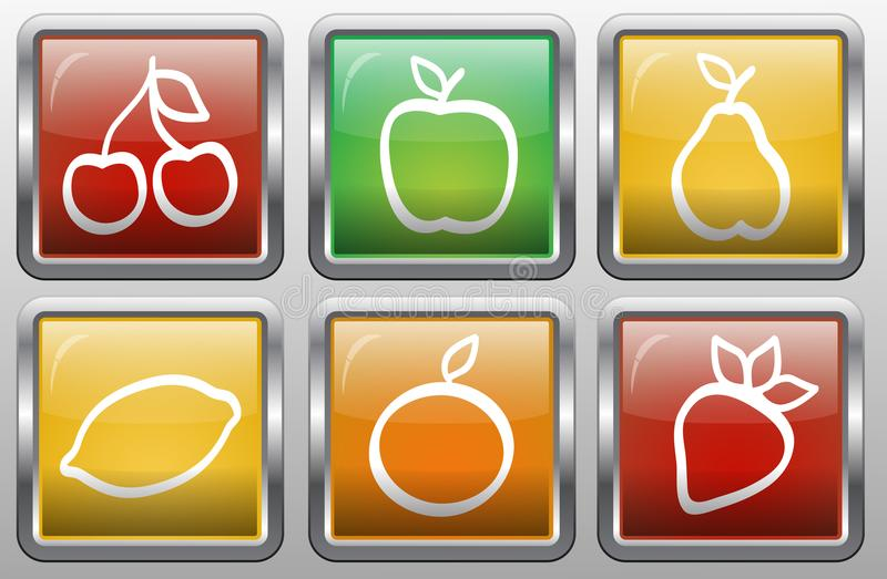 Set abstrakt zapina z obrazkiem owoc ilustracja wektor