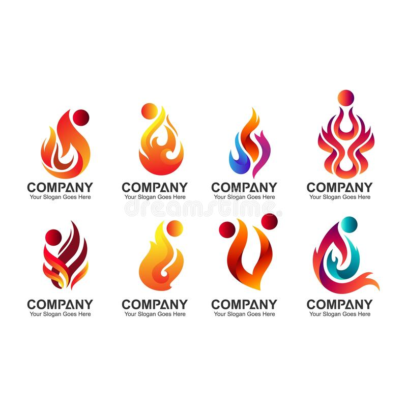 Set abstrakta ogień i ludzie logo royalty ilustracja