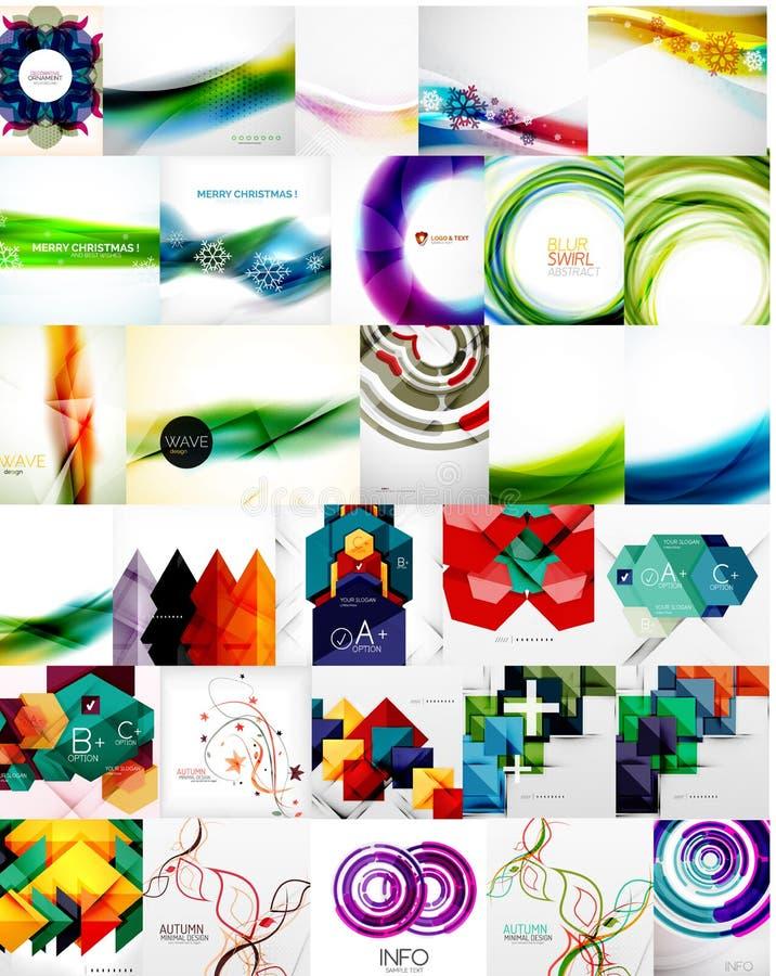 Set abstrakte Hintergründe lizenzfreie abbildung