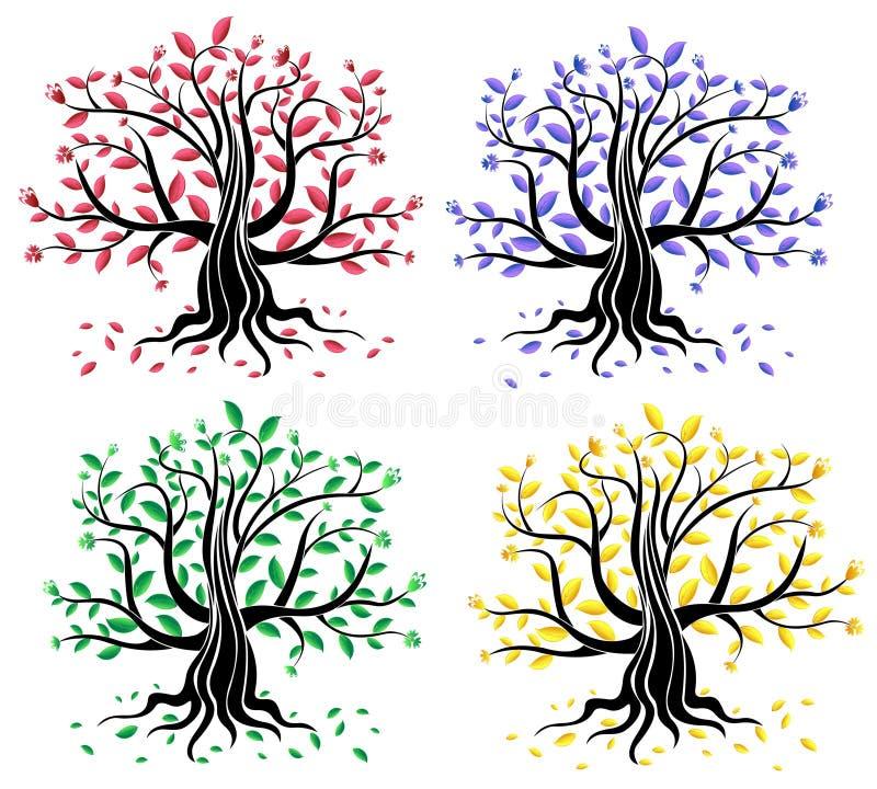 Set abstrakte kreative Bäume lizenzfreie abbildung