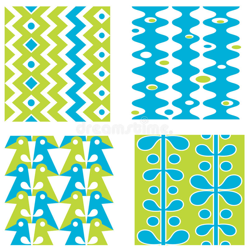 Set abstrakte nahtlose Muster lizenzfreie abbildung