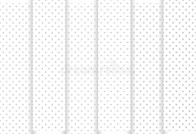 Set abstrakte nahtlose Muster Graue Dreiecke und Kreise, Sterne, squraes und Raute, moderne stilvolle Beschaffenheiten stock abbildung