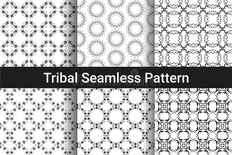 Set abstrakte nahtlose Muster Schwarzweiss-Farbe lizenzfreie abbildung