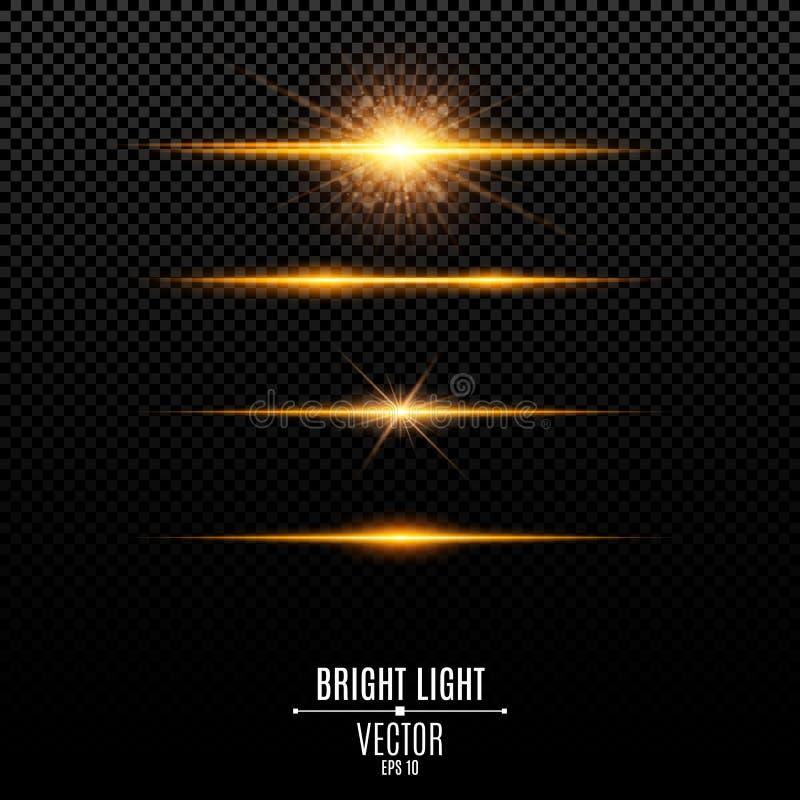set Abstrakter greller Glanz und Blitze lokalisiert auf einem transparenten Hintergrund Goldener heller leuchtender Stern Goldene stock abbildung