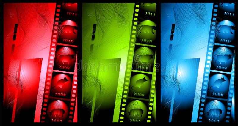 Set abstrakter Hintergrund im Film stock abbildung