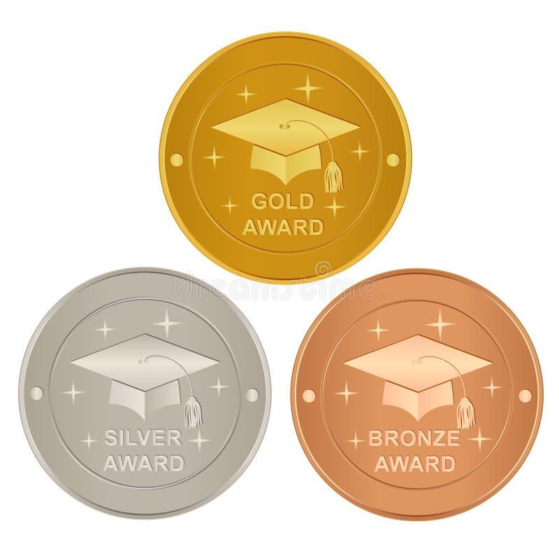 Set of academic awards. Set of gold, silver and bronze academic awards royalty free illustration