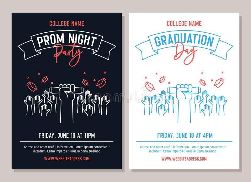 Set of 2 academic posters. Vector illustration for Prom Night Party invitations and another for Graduation day events. Hands stock illustration